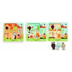 Kicsi a rakás Nyuszik - Három rétegű puzzle - Fa puzzle - Djeco