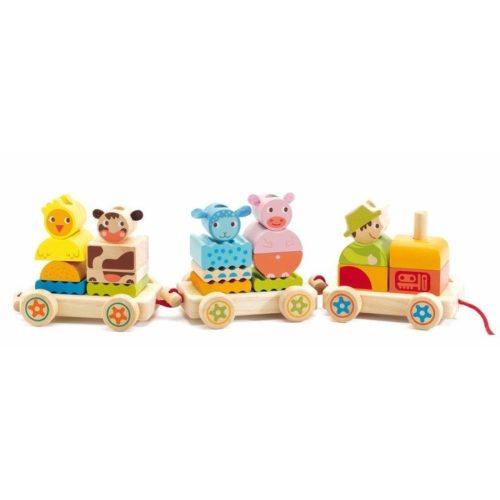 Utazik a Farm 24 db - Húzós Montessori fajáték - Djeco