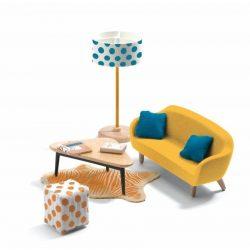 Modern sárga nappali - Babaházhoz - The orange living room - Djeco