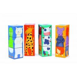 Vicces állatok 12 db - os - Kocka puzzle - 12 colour animals cubes - Djeco