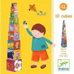 Vicces toronyépítő kocka  - 10 funny blocks - Djeco