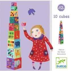 Természet és állatok toronyépítő kocka - természet, állat -  10 nature & animal blocks - Djeco