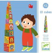 Állatok és autók - Toronyépítő kocka - 10 vehicles blocks - Djeco
