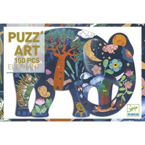 Elefánt díszes művész puzzle 150 db - os - Eléphant  - Djeco