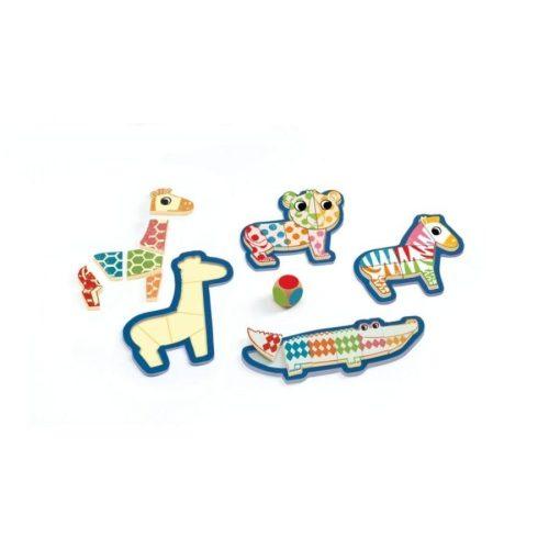 Színes vicces állatos formabeillesztő - Forma puzzle - Djeco