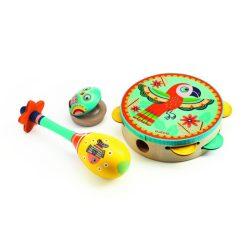 Állatos színes hangszerkészlet - Dob, csörgő, kasztanyetta - Set of 3 instruments: Tambourine, maracas, castanet - Djeco