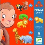 Maki és barátai 4, 6, 9 db-os óriás puzzle - Marmoset & friends - Djeco