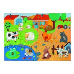 Élet a tanyán 12+8 db-os óriás puzzle - Tapintós óriás puzzle - Tactile farm - Djeco