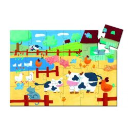 Élet a tanyán, 24 db-os formadobozos puzzle - The cows on the farm - 24 pcs - Djeco