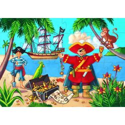 A kalózok kincsei, 36 db-os formadobozos puzzle - The pirate and his treasure - 36 pcs - Djeco