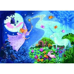 Álomtündér és az Unikornis, 36 db-os formadobozos puzzle - The fairy and the unicorn - 36 pcs - Djeco