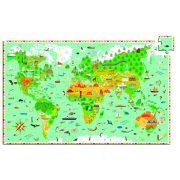 Föld térkép, 200 db-os megfigyelő puzzle - Around the world + booklet  - Djeco