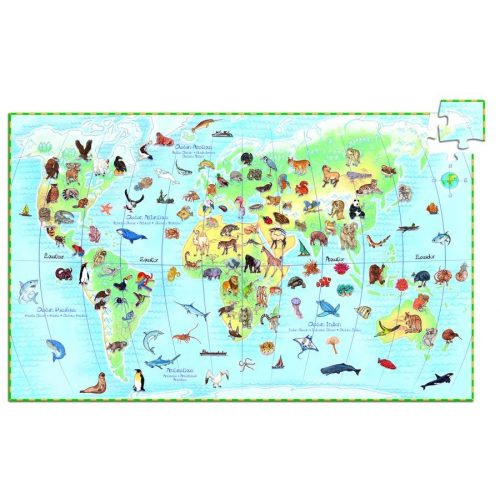 Föld állatai, 100 db-os megfigyelő puzzle - World's animals + booklet - 100 pcs - Djeco