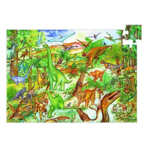 Dinoszauruszok, 100 db-os megfigyelő puzzle - Dinosaurs + booklet - 100 pcs - Djeco