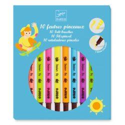 Ecsetfilc készlet 10 db-os - Kétoldalú filctoll - 10 felt brushes - Pop colours - Djeco