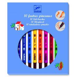 Ecsetfilc készlet 10 db-os klasszikus színek - Kétoldalú filctoll - 10 felt brushes - classic - Djeco
