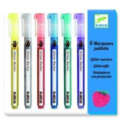 Glitteres csillám filctoll 6 db-os - 6 glitter markers - Djeco