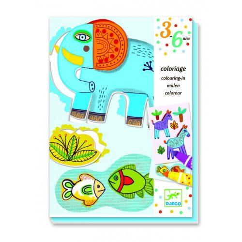 Állati színező - Színező vastag kétoldalú filctollal - Colouring for toddler - Zoo Zoo - Djeco