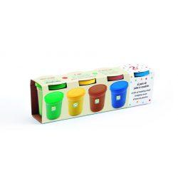 Gyurma 4 tégely - Egyszerű színek - 4 tubs of play dough, Plain - Djeco