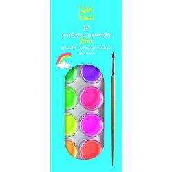Vízfesték 12 szín - Neon színek - 12 color cakes - neon - Djeco
