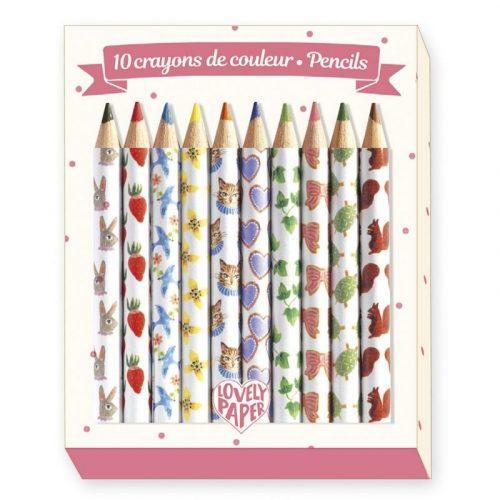 Aiko mini színes ceruza 10 db - 10 Aiko mini coloured pencils - Djeco