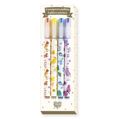 Tinou csillámtoll 4 db - 4 Tinou glitter markers - Djeco
