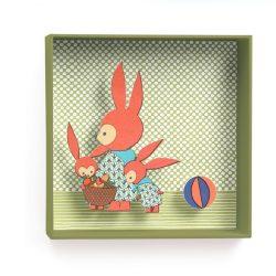 Nyuszók - 3D falidekoráció - Family rabbit - 18,5x18,5x4cm - Djeco