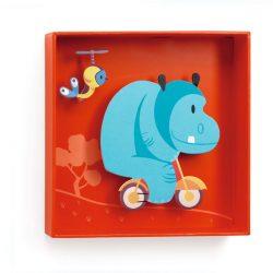 Bicikló - 3D falidekoráció - Hippopotamus - 18,5x18,5x4cm - Djeco
