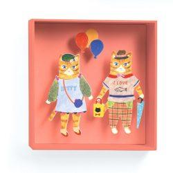 Cicák a lufival - 3D falidekoráció - Cats balloon - 18,5x18,5x4cm - Djeco