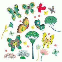 Virágok és lepkék - Ablak matrica - Butterflies in the garden - Djeco
