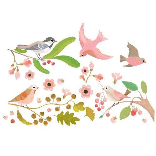 Madarak - Ablak matrica - Romantic birds - Djeco