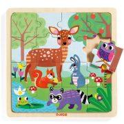 Ersei állatok - Fa puzzle 16 db-os - Puzzle Forest - Djeco