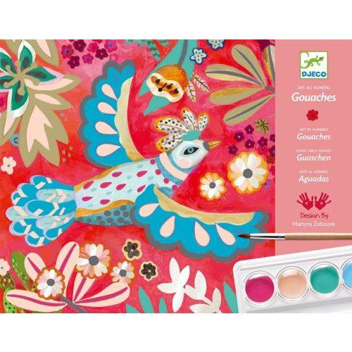 Művészi madarak - Vízfesték színező ecsettel - Melody - Djeco