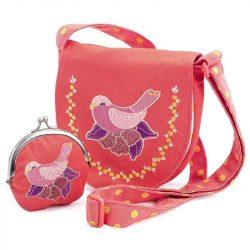 Madárkás válltáska pénztárcával - Embroidered bird bag and purse - Djeco