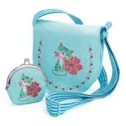 Cicás válltáska pénztárcával - Embroidered kitten bag and purse - Djeco