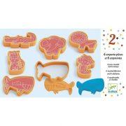 Vadállatos formanyomó - Gyurmázó kellék - 6 press moulds and 6 stamps wild animals - Djeco