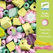 Fa gyöngyök levelekkel és virágokkal - Ékszerkészítő - Wooden beads, leaves and flowers - Djeco
