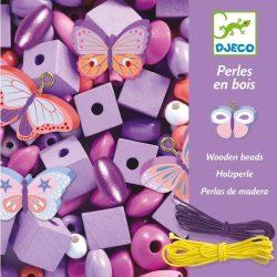 Fa gyöngyök lepkékkel - Ékszerkészítő - Wooden beads, buterflies - Djeco