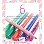 Csillámló filctoll édes színekben - Csillám filctoll 6 db - 6 glitter markers - sweet
