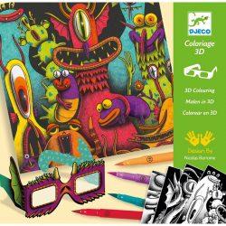Vicces szörnyecskék - Kreatív színesző 3D-s szemüveggel - Funny Freaks 3D - Djeco