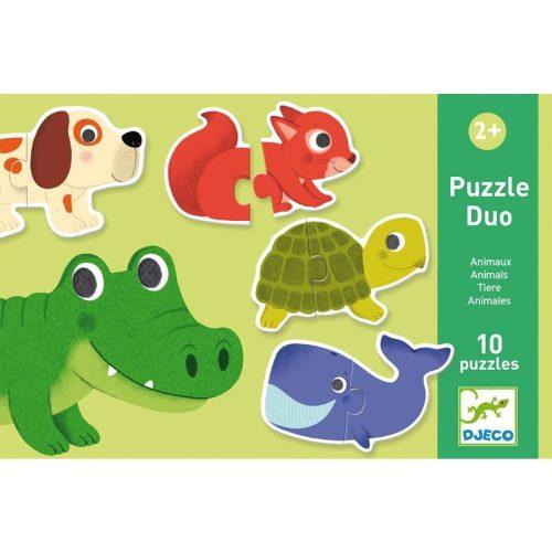 Állatok puzzle - Kétrészes puzzle 20 db - Animals - DJ08147