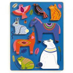 Színes állatok - formabeillesztő - Nora & Co - Djeco - DJ01065